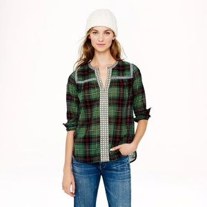 •J. Crew• Embroidered Plaid Peasant Top